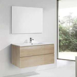 Kúpeľňová skrinka s umývadlom a zrkadlom Capri, dekor dreva, 120 cm