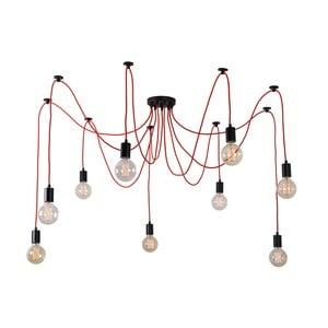 Červené stropné svietidlo s 9 žiarovkami Filament Style Spider Lamp