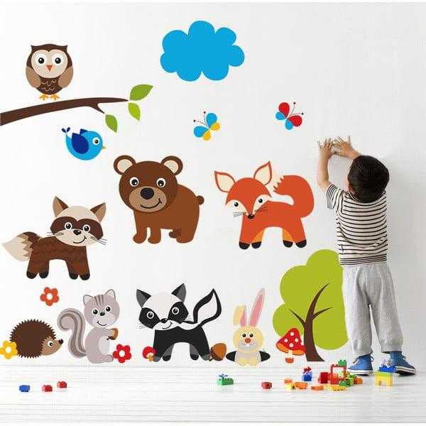 Samolepka na stenu Medveď a zvieratká, 90x60 cm