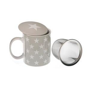 Čajový hrnček s vrchnákom a sitkom Grey & White Star