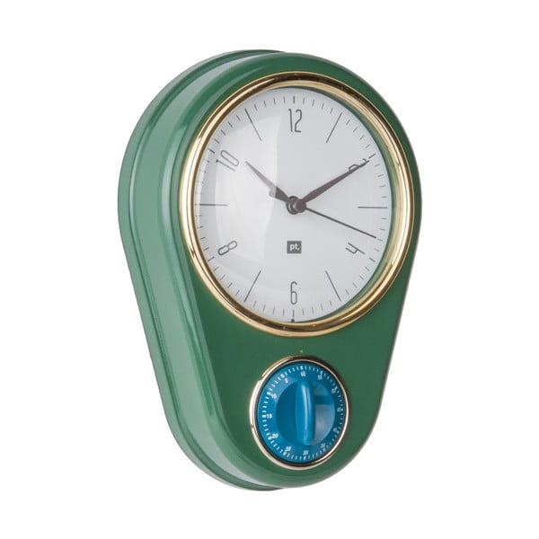 Tmavozelené nástenné hodiny s kuchynskou minútkou PT LIVING