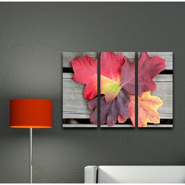 3-dielny obraz Lístie na dreve