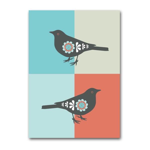 Plagát Vtáčiky oranžové, stredný