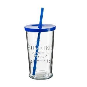 Sada 4 pohárikov s modrým viečkom a slamkou SUMMER FUN II, 500ml