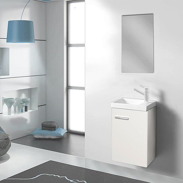 Kúpeľňová skrinka s umývadlom a zrkadlom Kai, odtieň bielej, 40 cm