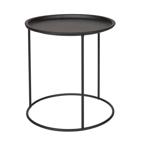 Čierny odkladací stolík WOOOD Ivar, Ø40cm