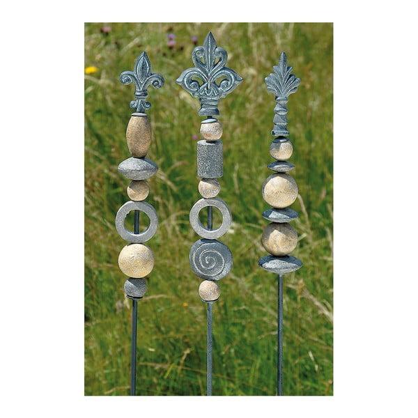 Sada 3 zapichovacích záhradných dekorácií Stone