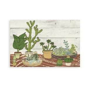 Drevená nástenná dekoratívna ceduľa Surdic Tabla Cactus Garden, 40×60 cm
