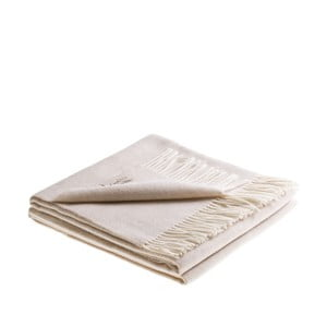 Krémová deka z jahňacej vlny a kašmíru Lanerossi Salice, 130 x 180 cm