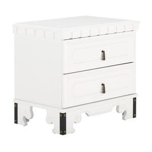 Biely nočný stolík z dreva kaučukovníka SOB Constantin