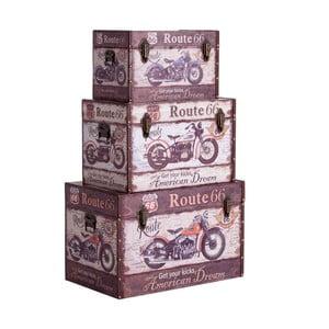 Sada 3 dekoratívnych úložných boxov Last Deco Traveller