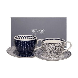 Sada 2 hrnčekov s tanierikom Tokyo Design Studio Cappuccino Leaf/Pebble