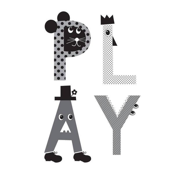Plagát Play Grey, 30x40 cm