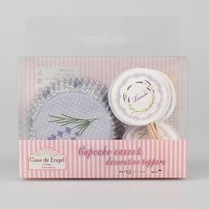 Sada 24 košíkov na pečenie na muffiny so zapichovacími ozdobami Dakls Lavender