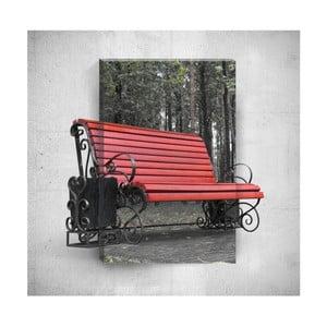 Nástenný 3D obraz Mosticx Red Bench, 40×60 cm