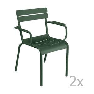 Sada 2 zelených stoličiek s opierkami na ruky Fermob Luxembourg