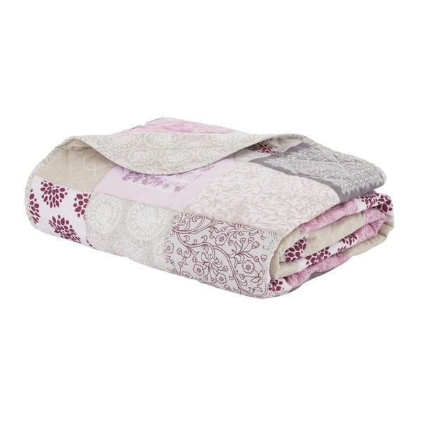 Prikrývka cez posteľ Ethnic Floral Patchwork Berry, 220x230 cm