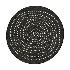 Čierny okrúhly obojstranný koberec Bougari Bali, Ø 140 cm