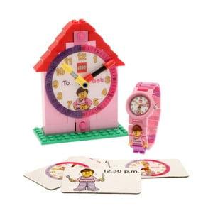 Ružové hodinky a výuková stavebnica LEGO® Time Teacher