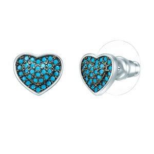 Dámske náušnice v striebornej a tyrkysovomodrej farbe so zirkónmi Tassioni Water