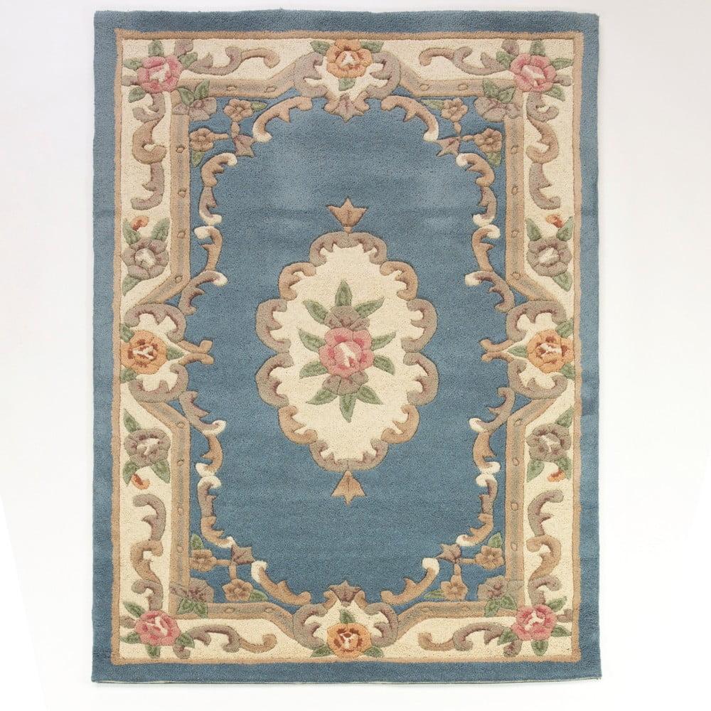 Modrý koberec z vlny Flair Rugs Aubusson, 120 × 180 cm