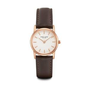 Dámske hodinky s hnedým koženým remienkom a ciferníkom v ružovozlatej farbe Eastside Elridge