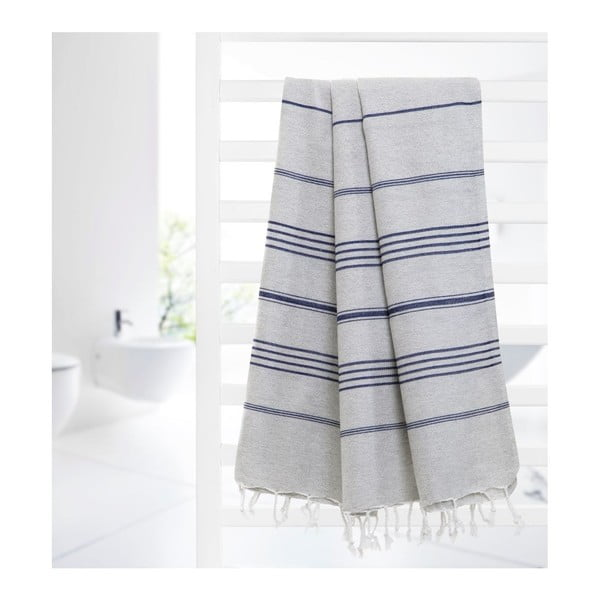 Hammam osuška Cross Grey Blue, 95x175 cm