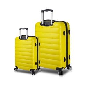 Sada 2 žltých cestovných kufrov na kolieskach s USB porty My Valice RESSNO Cabin & Large