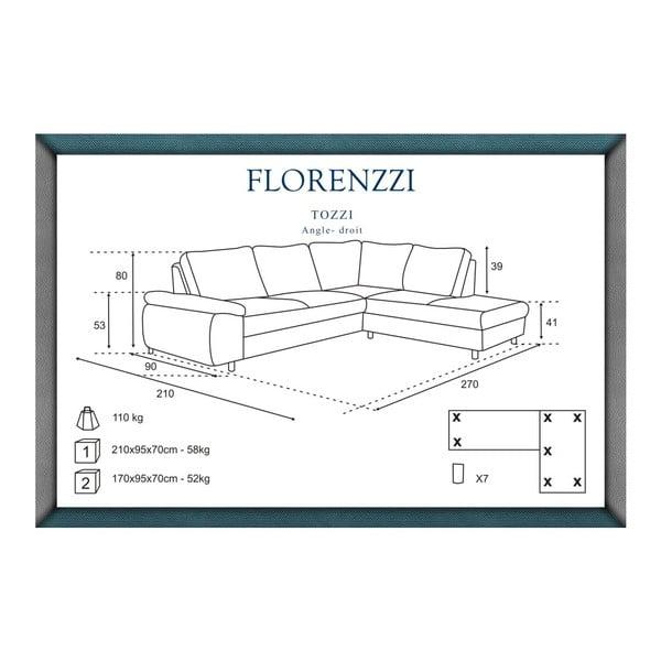 Svetlosivá pohovka Florenzzi Tozzi s leňoškou na pravej strane