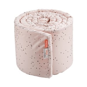 Ružový mantinel do postieľky Done by Deer Dreamy Dots, dĺžka 350 cm
