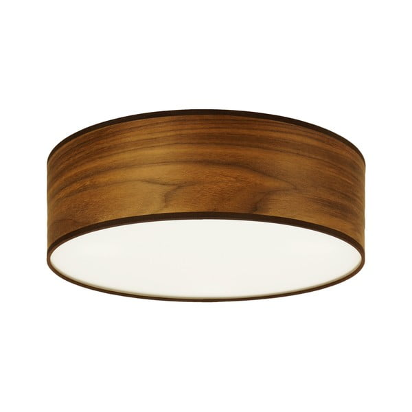 Stropné svietidlo z prírodnej dyhy vofarbe orechového dreva Sotto Luce TSURI, Ø30 cm