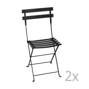 Sada 2 čiernych skladacích stoličiek Fermob Bistro