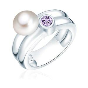 Prsteň s perlou a zirkónom Nova Pearls Copenhagen Lynkeus, veľ. 54