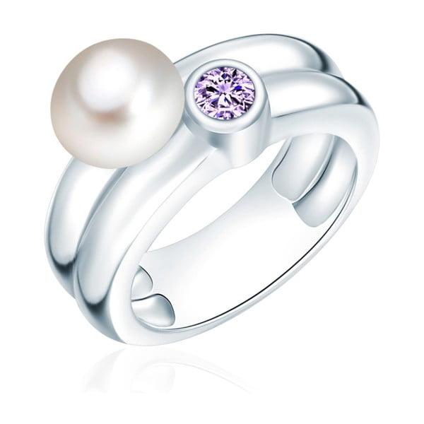Prsteň s perlou a zirkónom Nova Pearls Copenhagen Lynkeus, veľ. 56