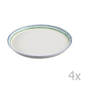 Sada 4 porcelánových tanierov na pizzu Oilily 31 cm, zelený okraj