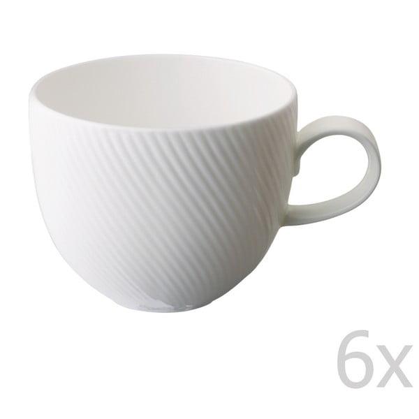 Sada 6 hrnčekov z kostného porcelánu Flute, 375 ml