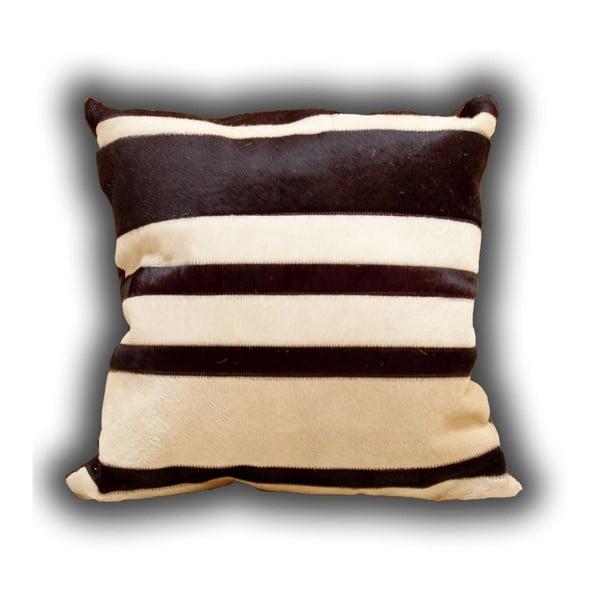 Vankúš z pravej kože Stripes, 45x45 cm