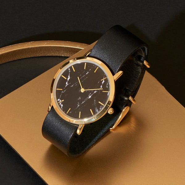 Čierne mramorové hodinky s čiernym remienkom Analog Watch Co. Classic