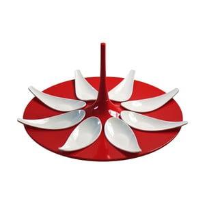 Červeno-biely servírovací set na jednohubky Entity