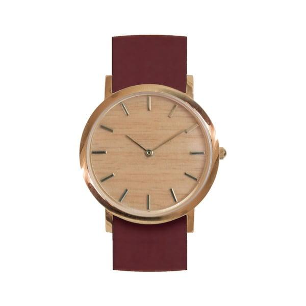 Drevené hodinky s červeným remienkom Analog Watch Co. Classic