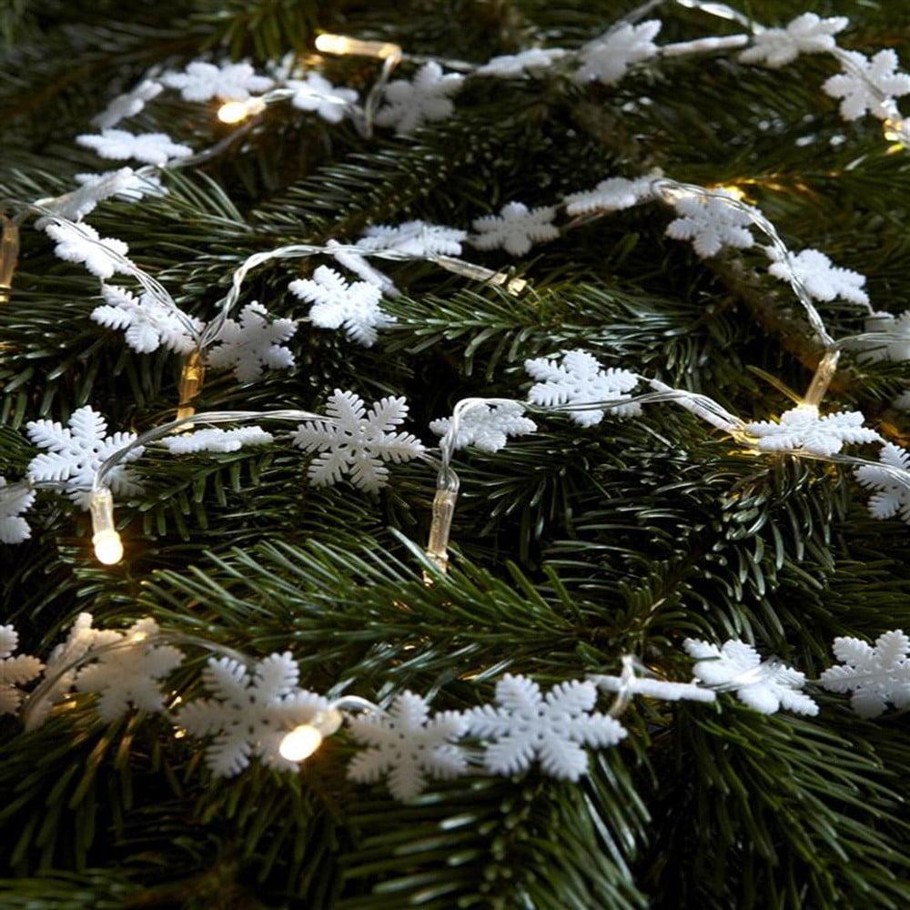 Transparentná svetelná LED reťaz v tvare vločiek Markslöjd Snostjarna, 20 svetielok, dĺžka 220 cm