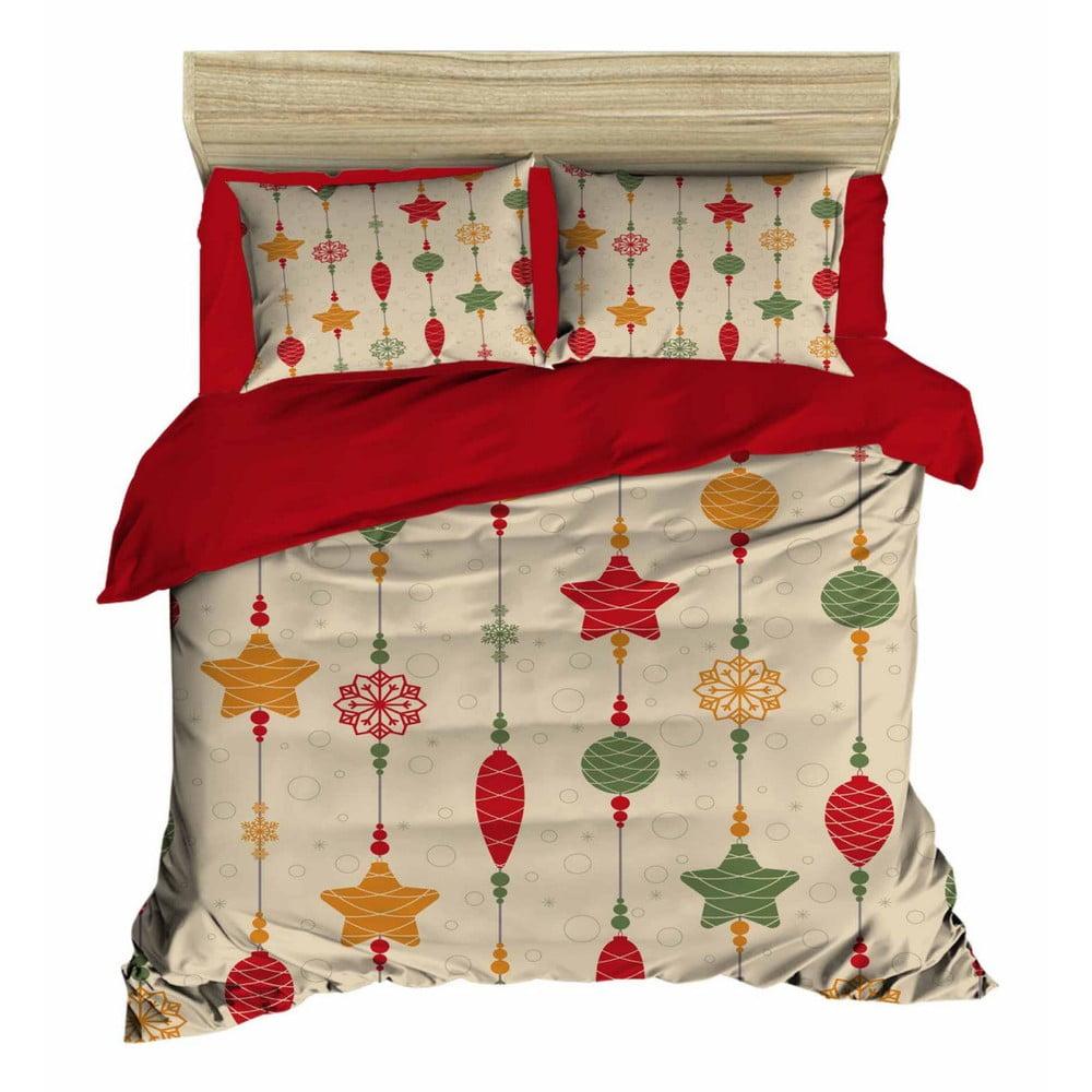 Vianočné obliečky na dvojlôžko s plachtou Juana, 160×220 cm