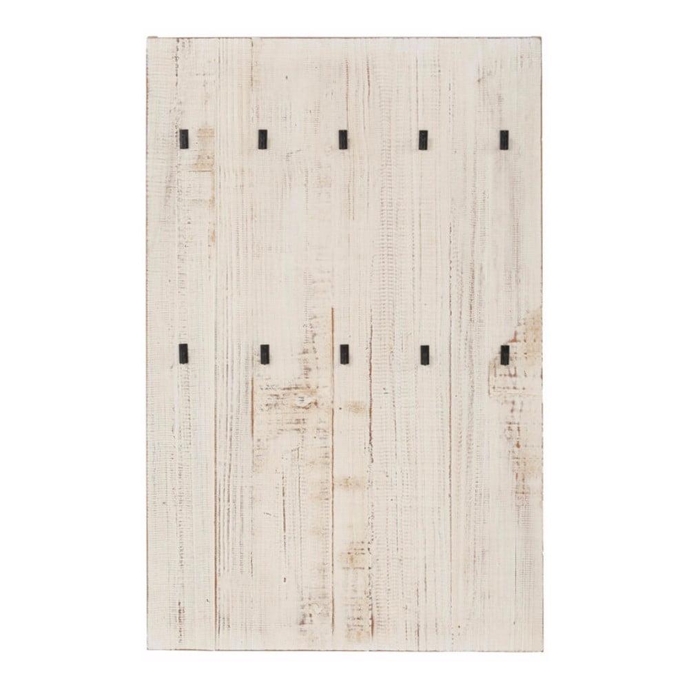 Biely nástenný vešiak z masívneho borovicového dreva Støraa Santana