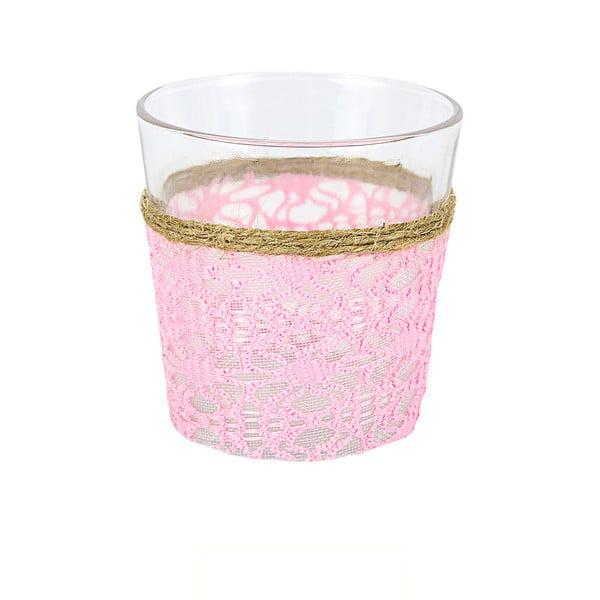 Sklenený svietnik s ozdobnou textíliou Pink