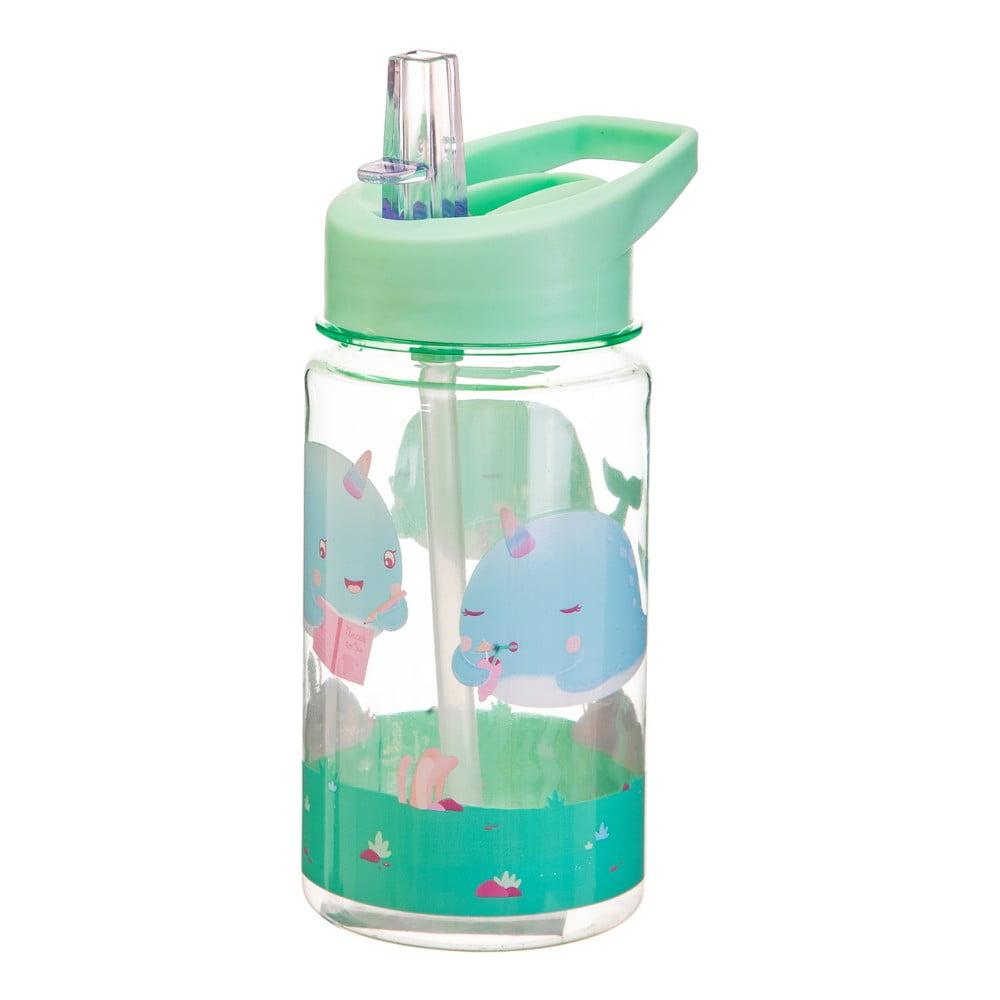 Detská zelená fľaša na vodu Sass & Belle Drink Up Alma Narwhal, 400 ml