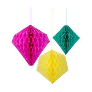 Papierové dekorácie Honeycomb Fiesta, 3 kusy