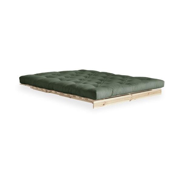 Rozkladacia pohovka so zeleným poťahom Karup Design Roots Raw/Olive Green