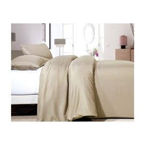 Béžové obliečky z mikroperkálu na jednolôžko Sleeptime Satin One, 140×200 cm