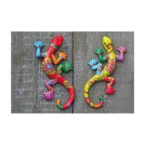 Sada 2 nástenných dekorácií Exotic Lizards