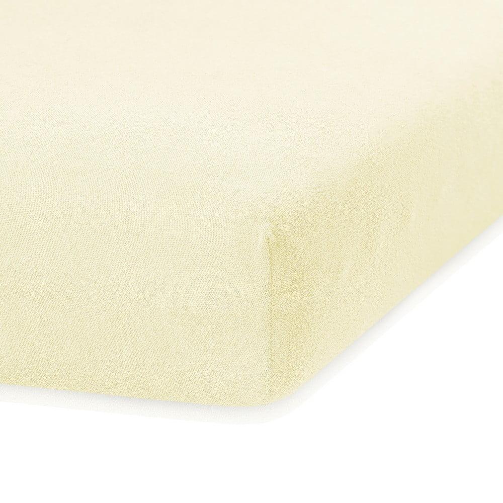 Svetložlté elastická plachta s vysokým podielom bavlny AmeliaHome Ruby, 200 x 160-180 cm